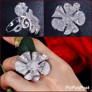 Jewelry - Gorgeous Pave CZ 3D Flower Statement Ring 9